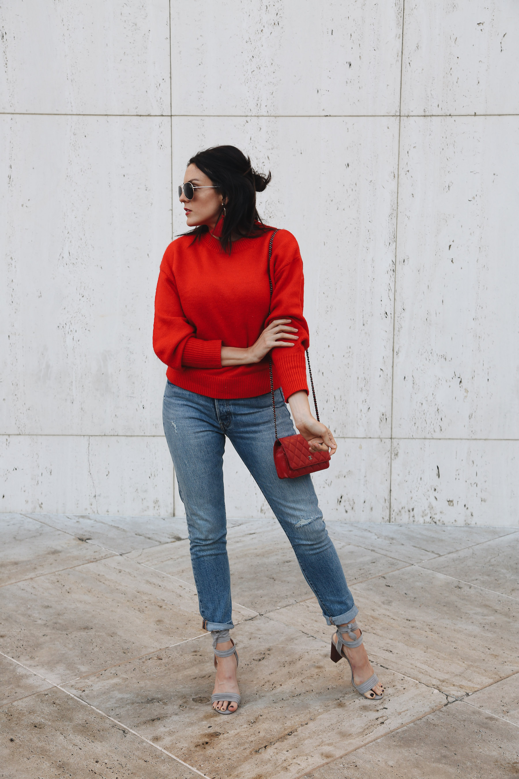 how to dress up a red sweater for the holidays2.jpg