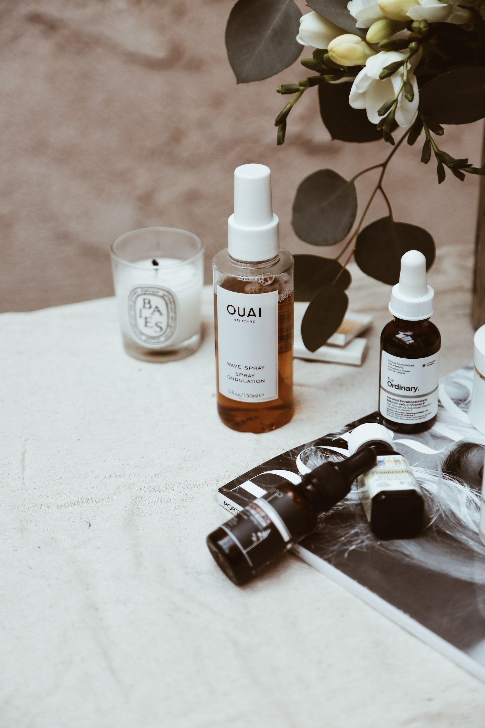HEAD GAMES - Not sure what I love more about the Ouai Wave Spray- what it does to my hair, or the scent. It's by far the best wave spray I've ever used (it actually makes my curly hair wavy, without being sticky), and no joke, sometimes I spray it on my hair instead of wearing perfume because it smells that good!Speaking of scents and things having to do with our heads, I've recently been using Aura Cacia's frankincense essential oil to help with my headaches and migraines. Our yoga instructor in Cabo gave me the tip, and it is by far one of the best things I've ever used to help my migraines. Just a few drops on my temples and the pain disappears faster than I can say
