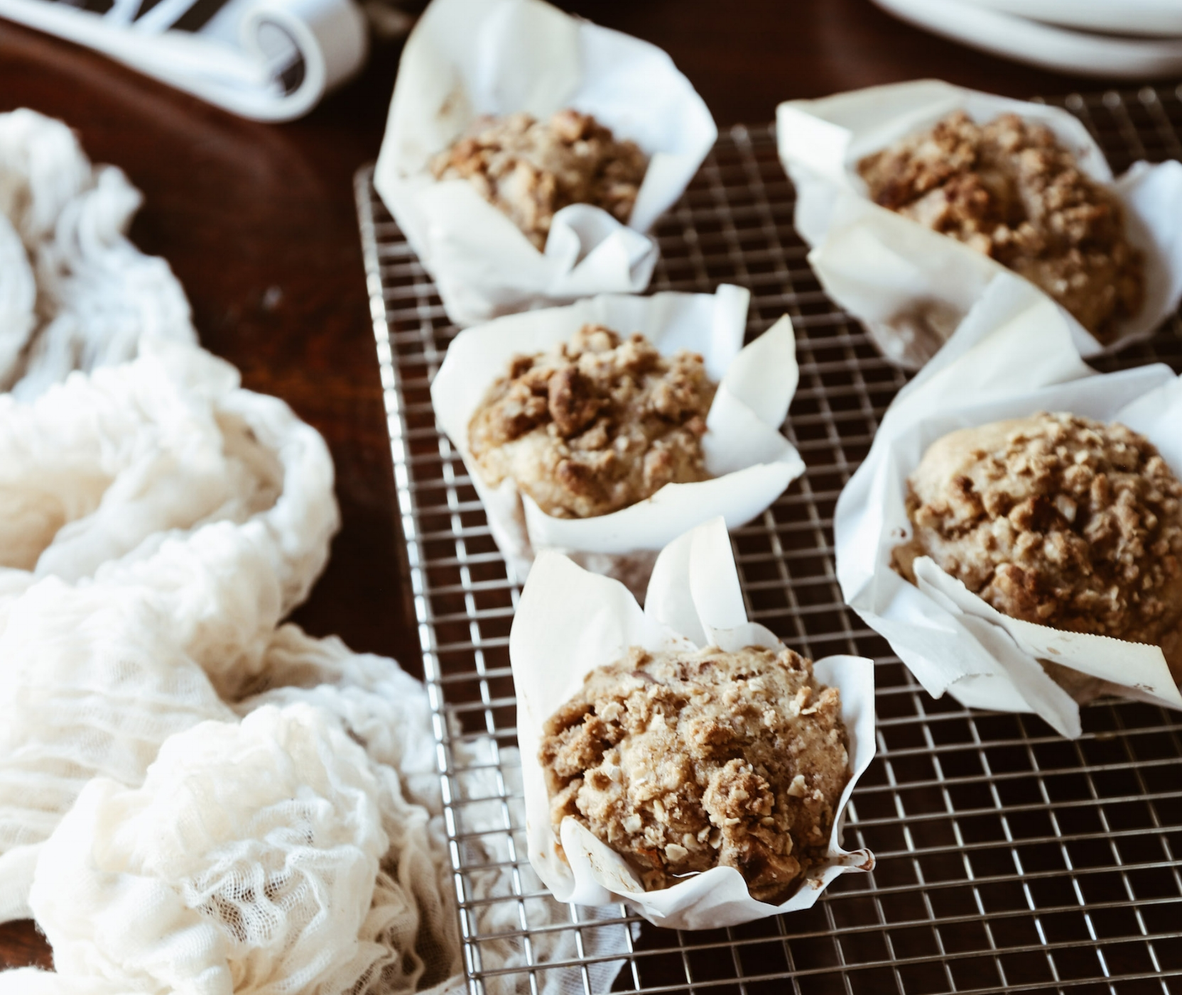 Chai Peach Muffins with Spiced Walnut Crumb Topping - yields 12