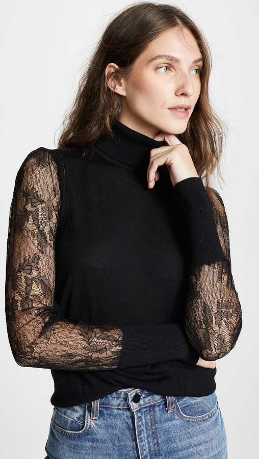 A LITTLE LACE - JSUT BECAUSE IT'S A SWEATER, DOESN'T MEAN IT HAS TO BE BULKY + BORING