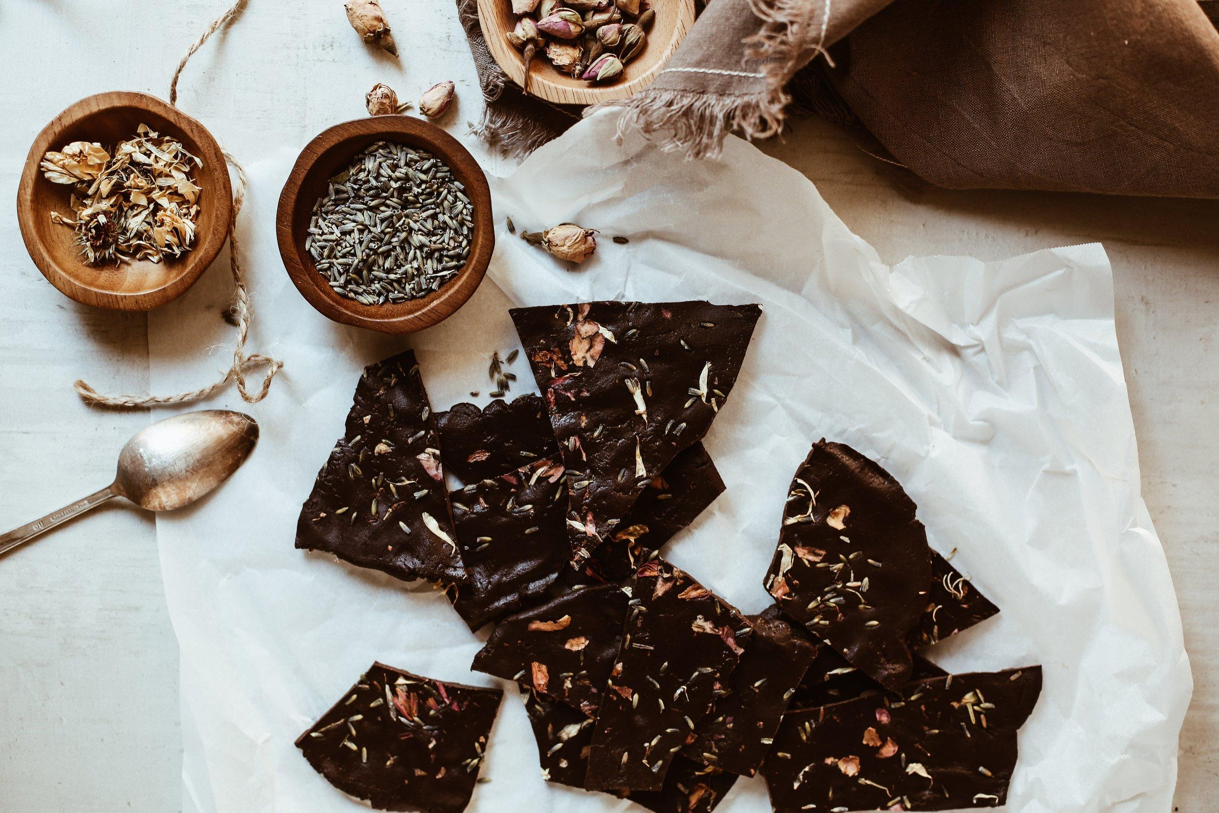 Chocolate Bark with CBD Oil + Flowers -