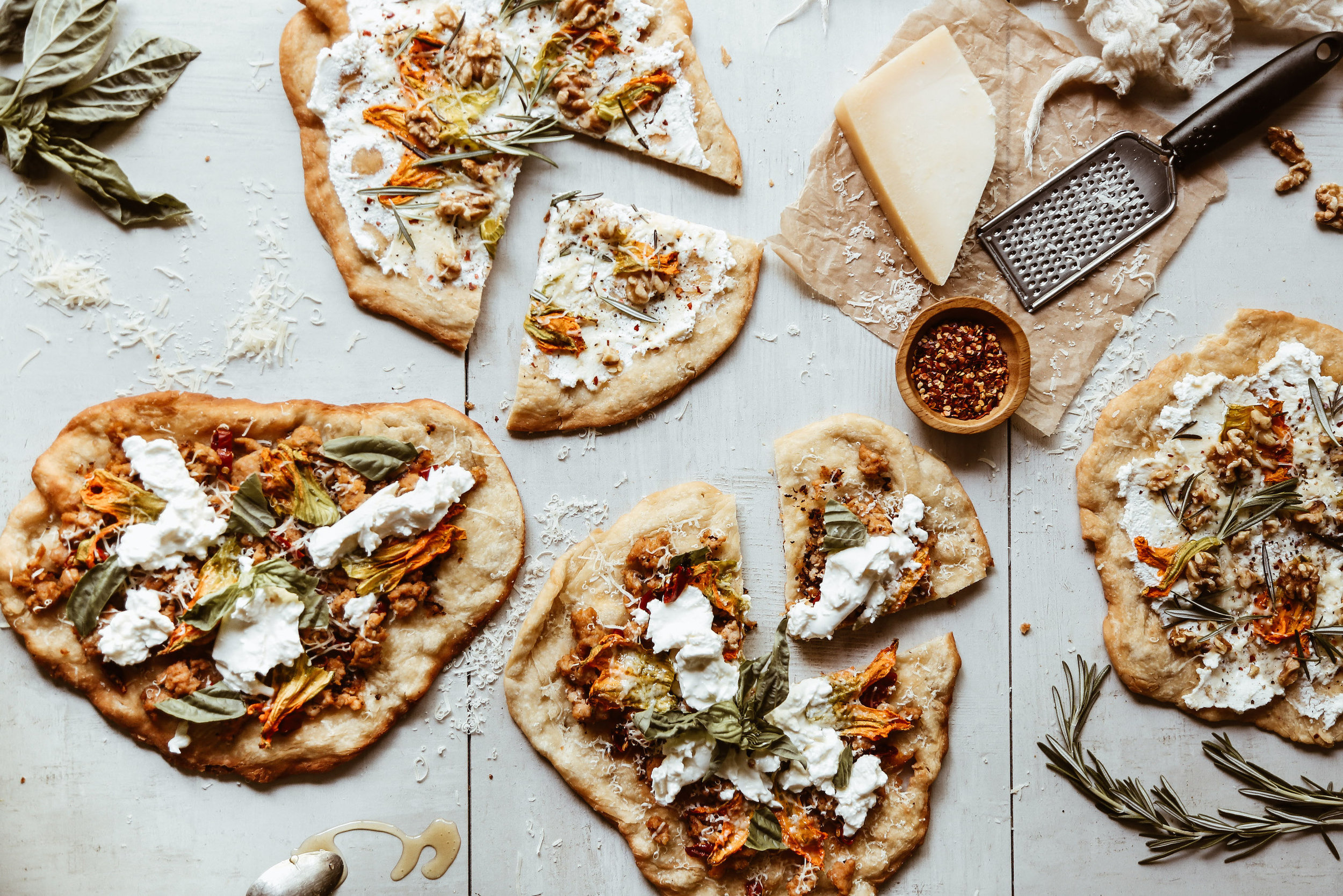 FRied PIZZA WITH SQUASH BLOSSOMS - makes 4 pizzas