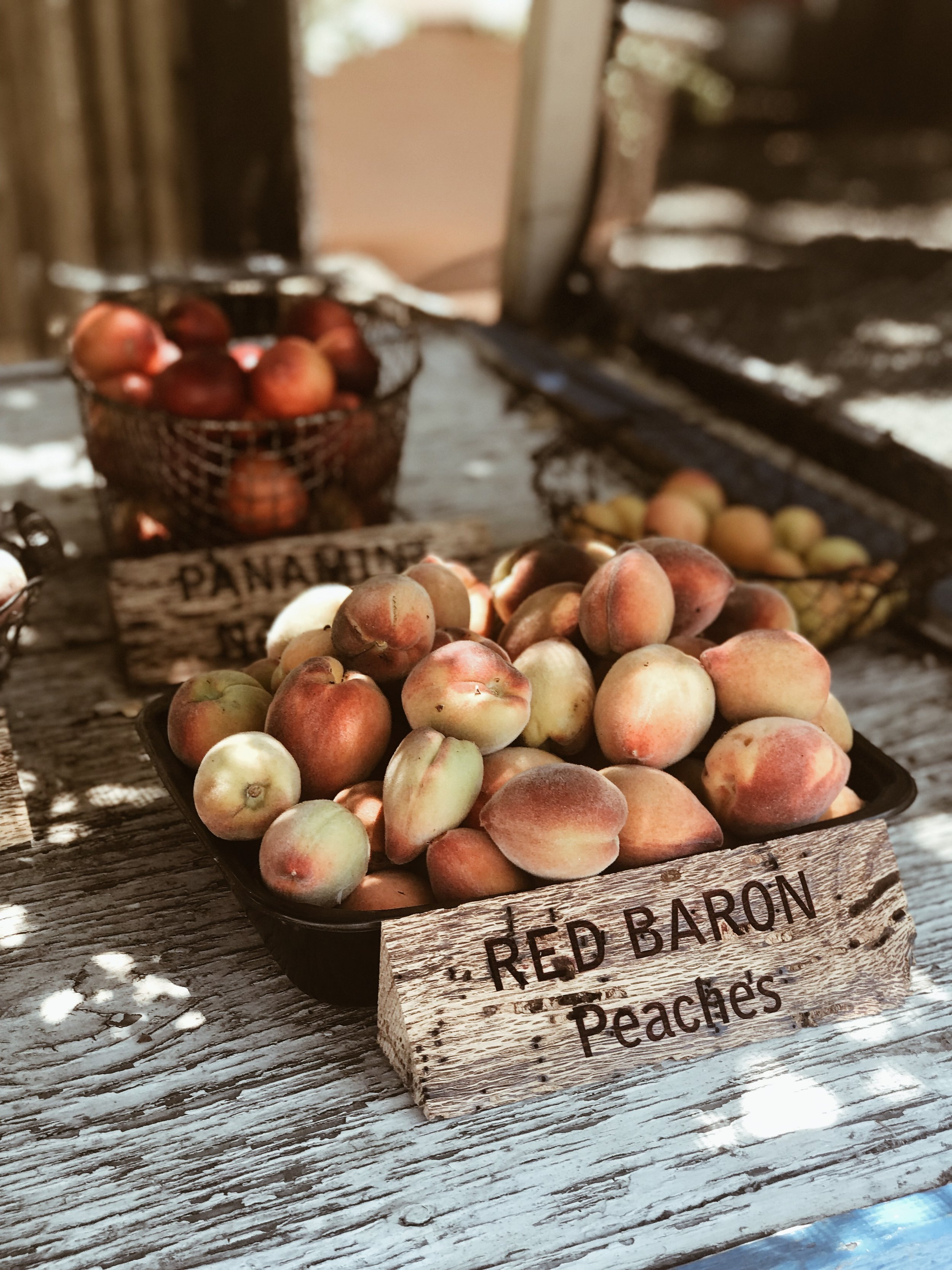 Picking up fresh peaches at a roadside stand