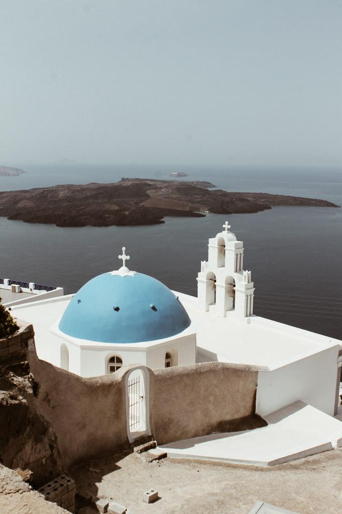 Santorini church with blue roof