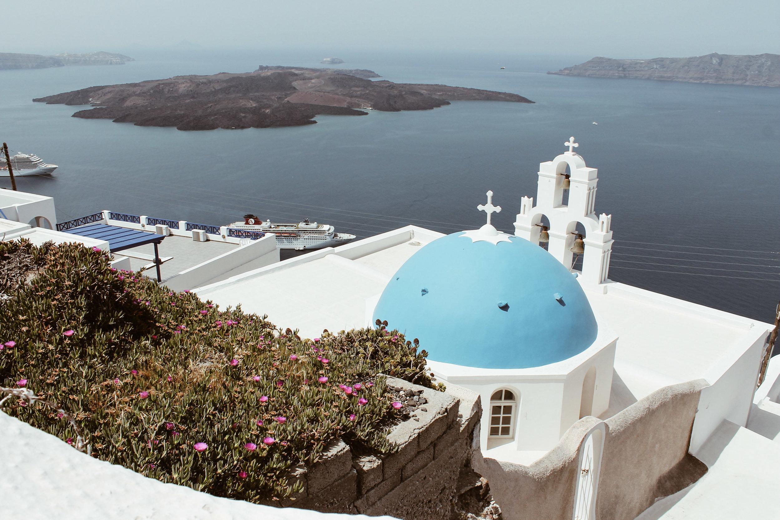 Santorini blue dome roof