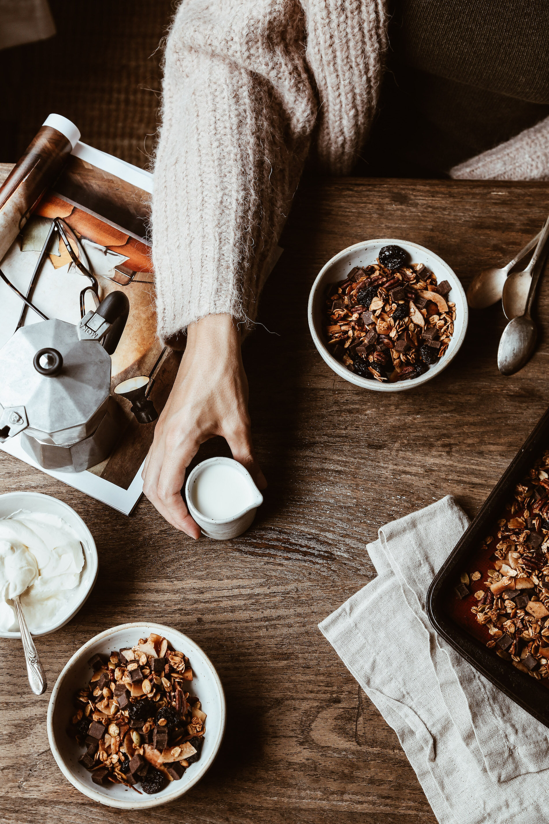 Recipe for Chocolate Coconut Granola with Cherries and Pecans