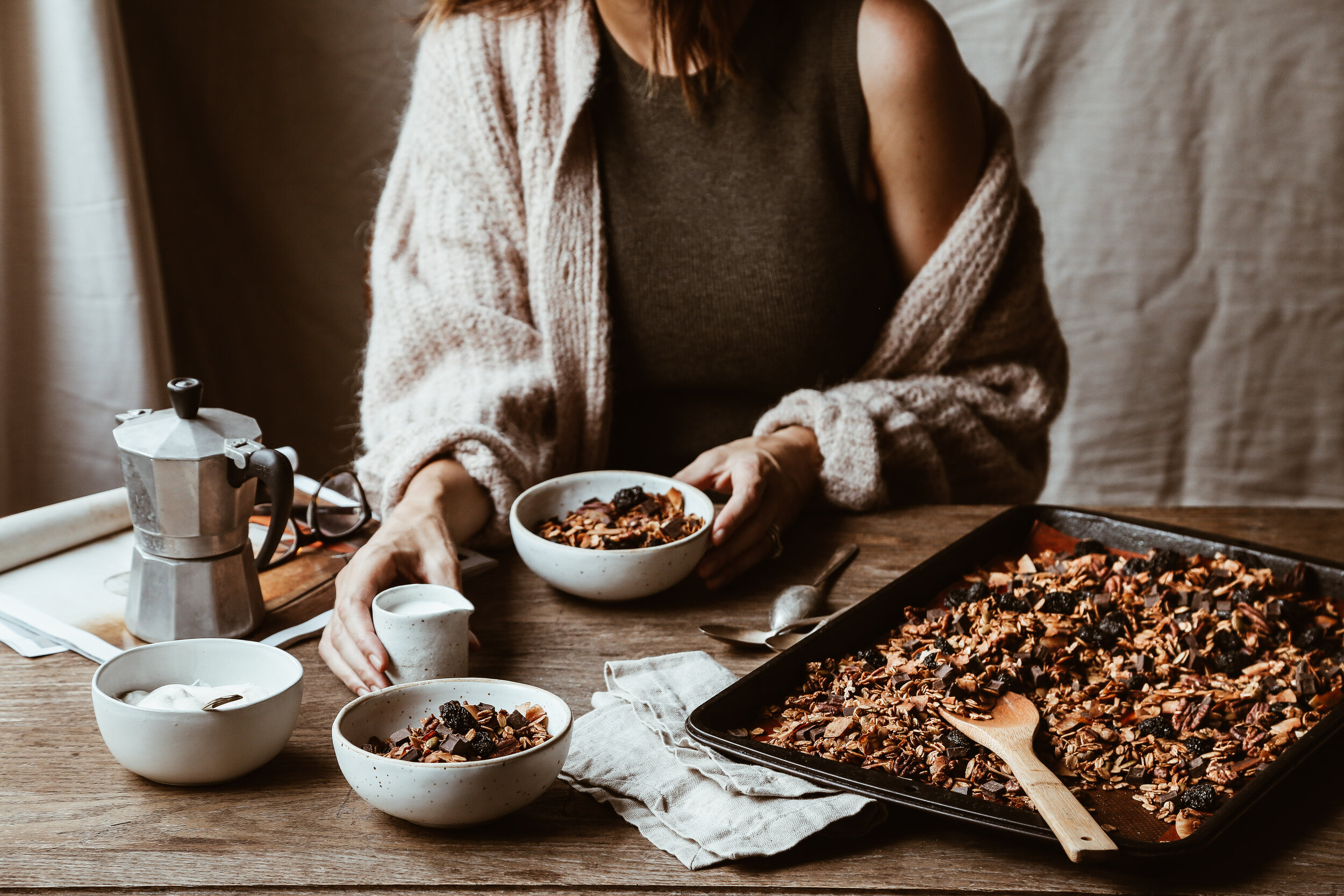 Chocolate Coconut Granola with Cherries and Pecans