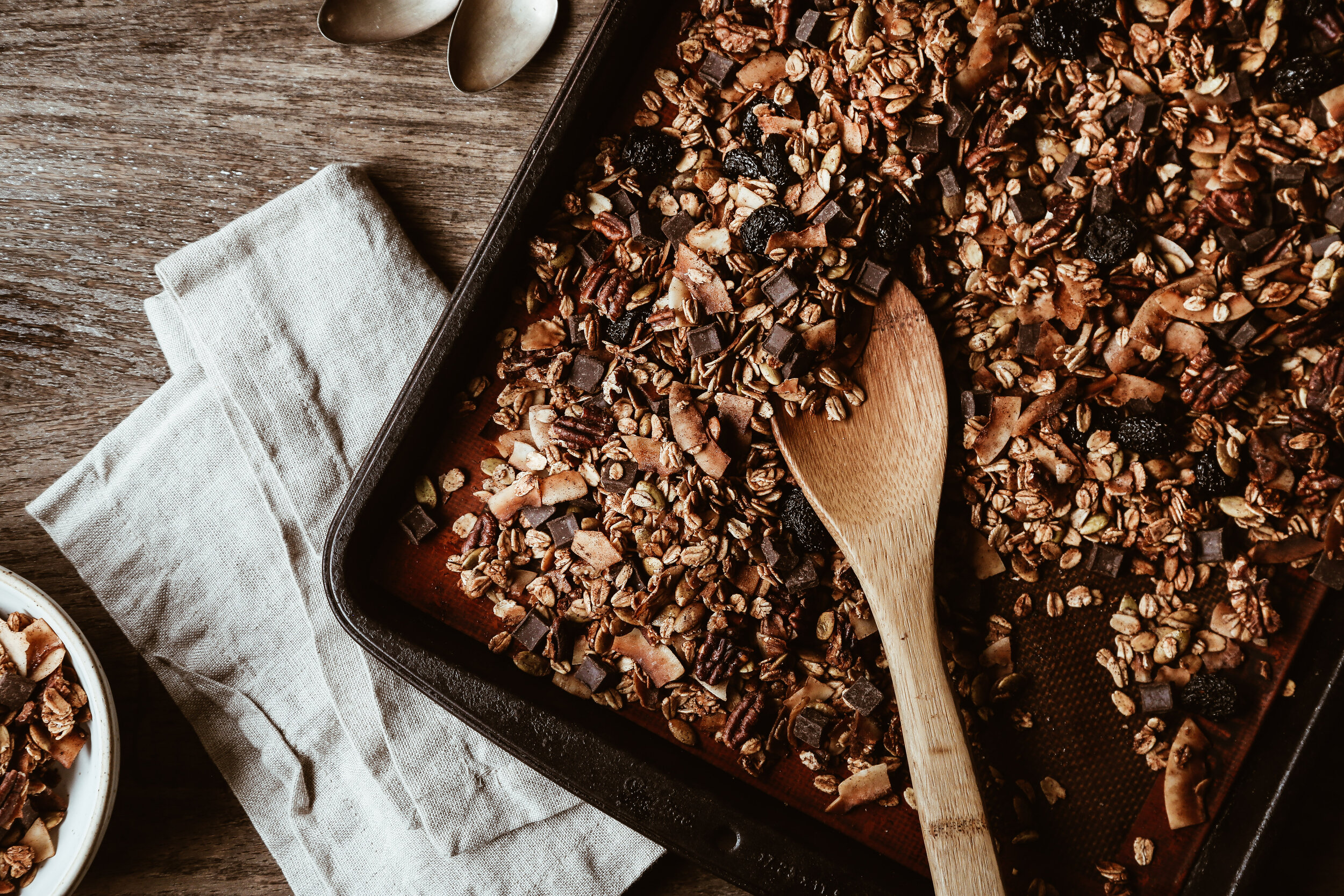 Salted Chocolate Coconut Granola with Cherries and Pecans -