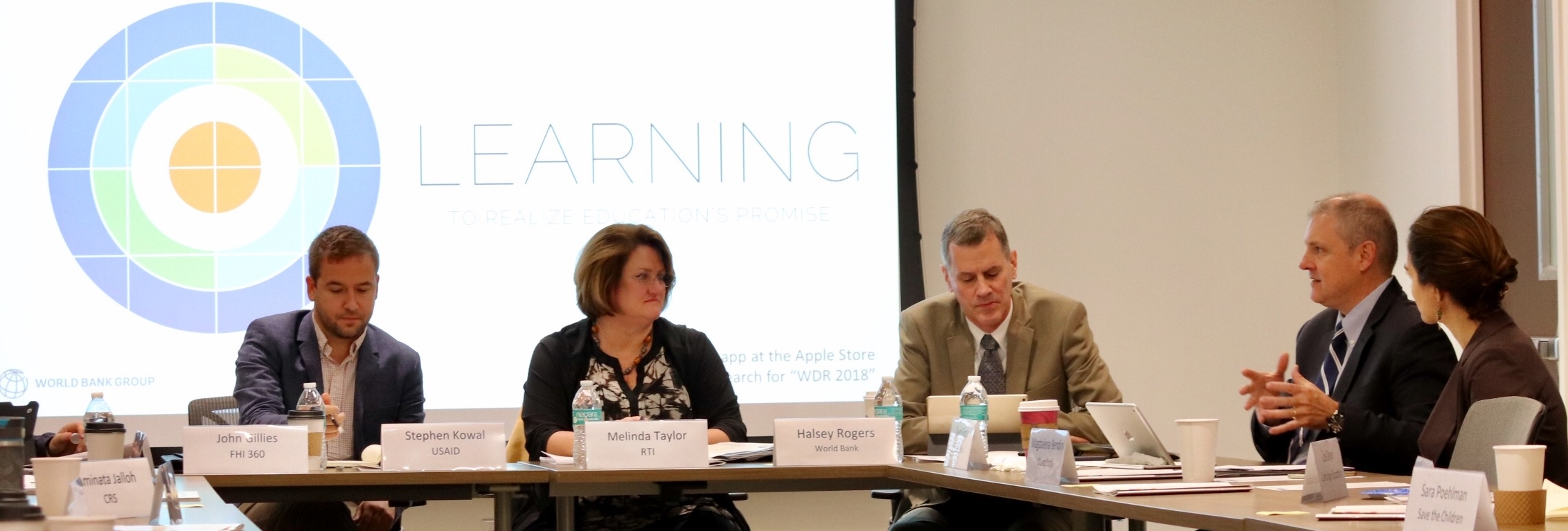 Steve Kowal (USAID), Melinda Taylor (RTI), Halsey Rogers (World Bank), Deon Filmer (World Bank) and Magdalena Bendini (World Bank) reflect on recommendations from the WDR18 at the launch hosted at BEC on 10/24/17