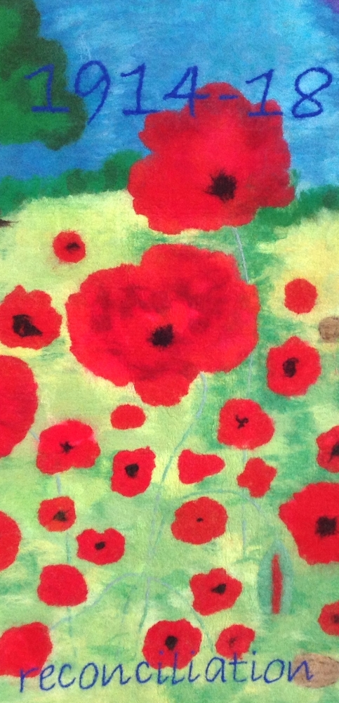 Field of Remembrance felted landscape made with pupils of Haymerle School Peckham.JPG