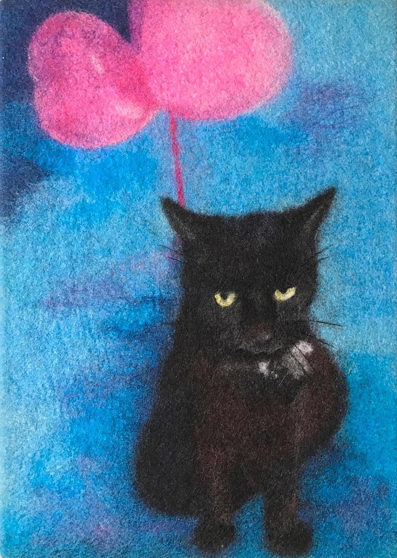 Catty Black Cat with balloons 40cmx40cm