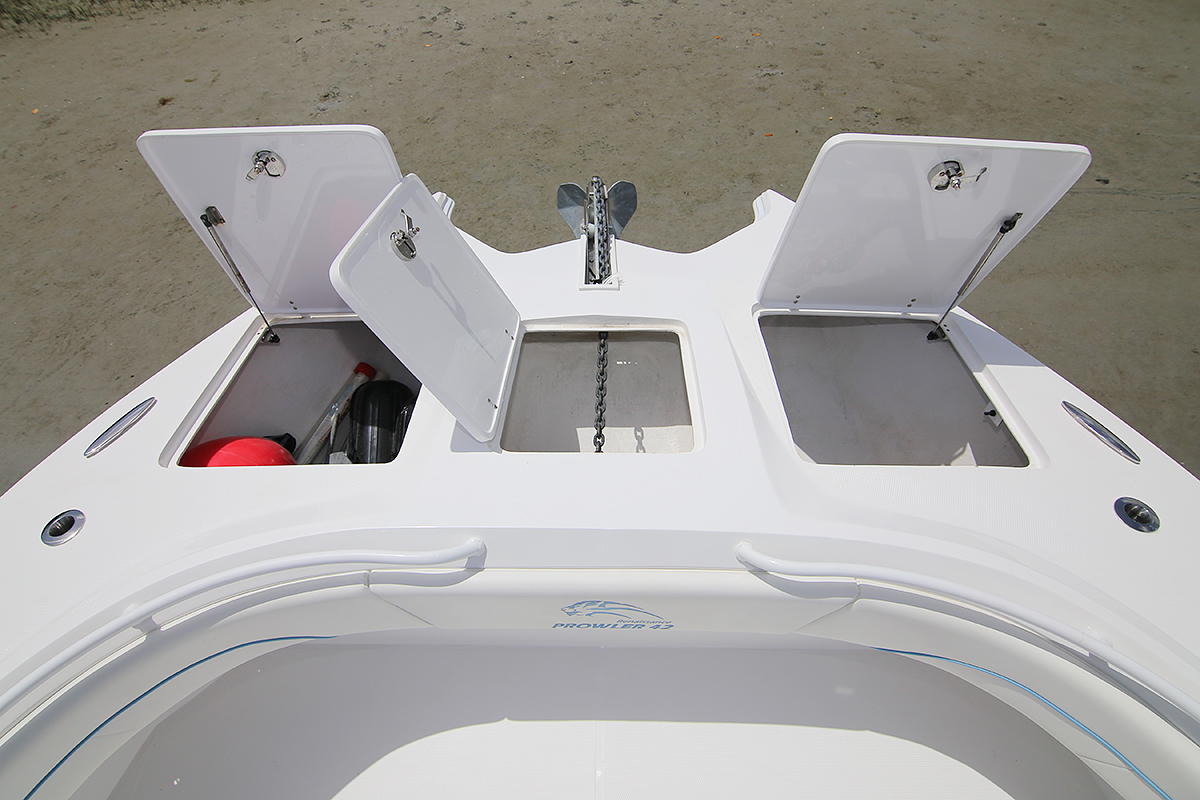 Anchor locker and additional bow storage