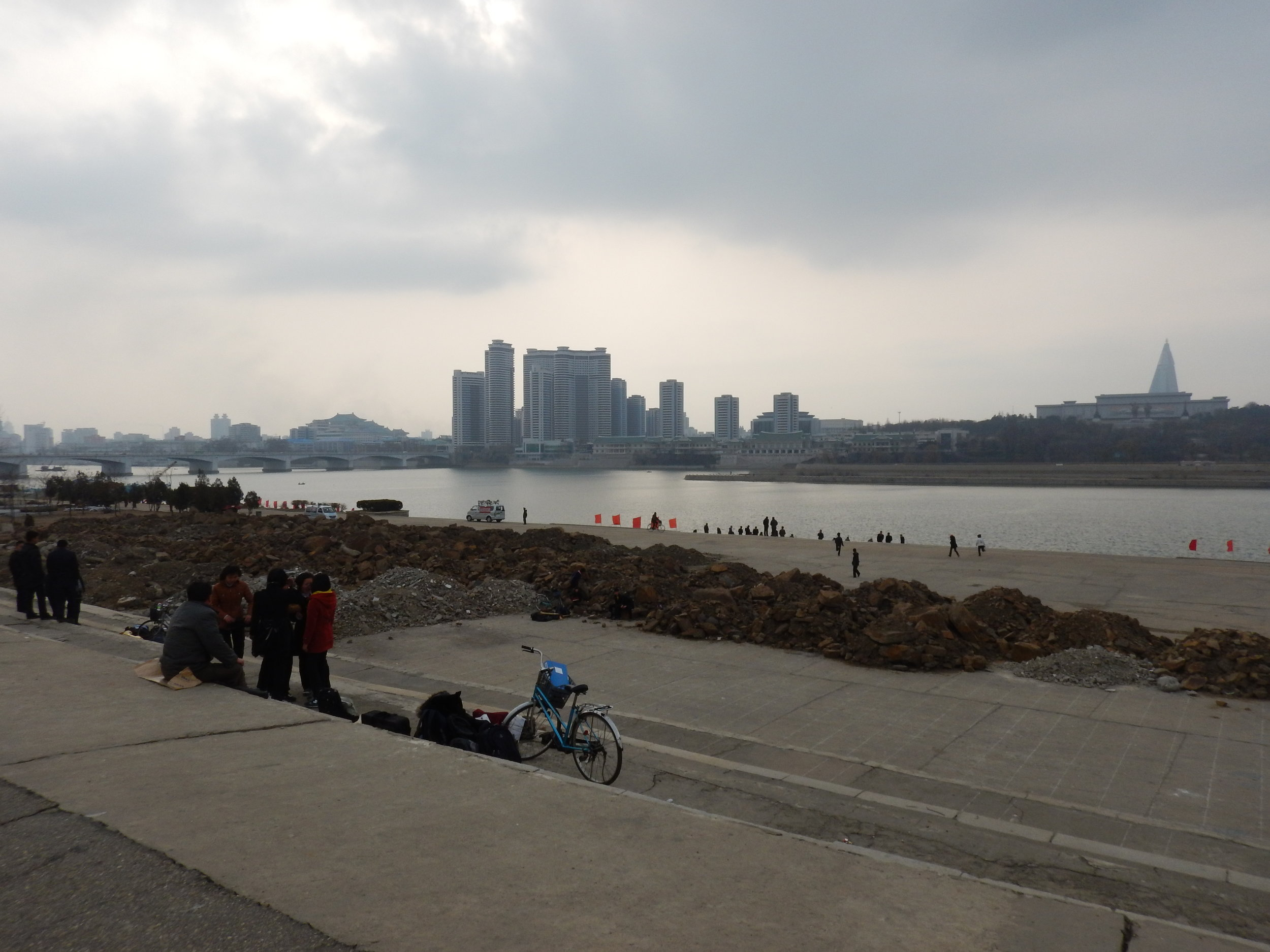 A view of the Taedong River as seen from the eastern bank, which was undergoing renovation in March 2016. This picture is actually illegal, as photographing construction sites is prohibited by North Korean law. (Photo by Ethan Jakob Craft.)