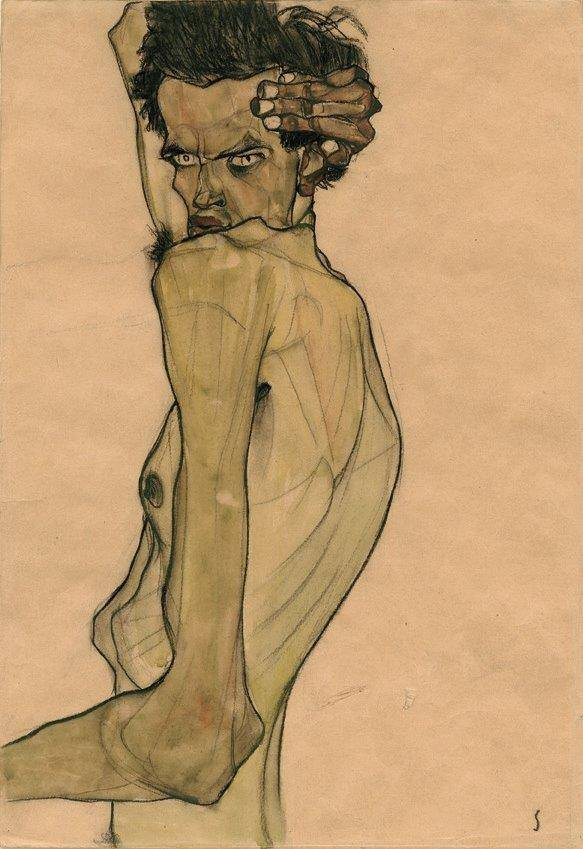 Egon Schiele's  Self-Portrait with Arm Twisted above Head  (1910), a voyage into the artist's view of himself.