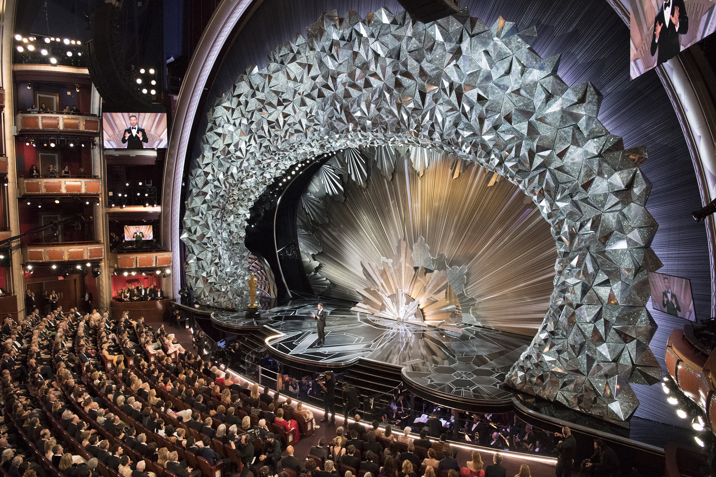 The stunning Dolby Theatre where host Jimmy Kimmel joked that each Swarovski crystal on stage represents the humility of the Hollywood elites in the room.Ed Herrera—ABC/Getty Images