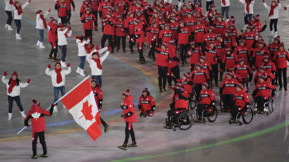 Team Canada at the Paralympic Opening Ceremonies on March, 9th. (Courtesy of CTV News)