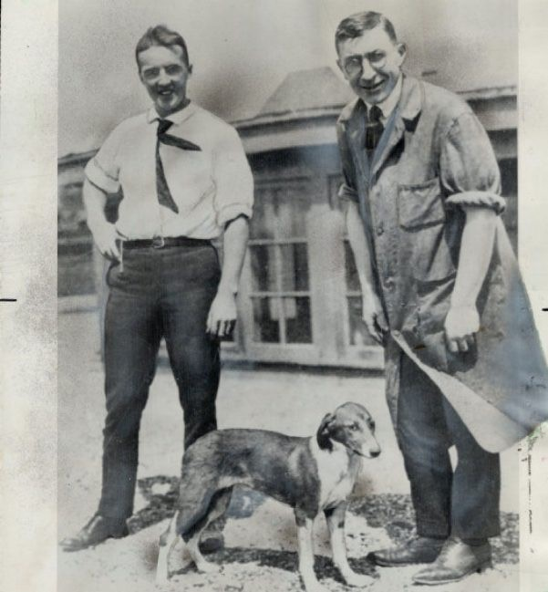 Frederick Banting (right) and Charles Best (left) awarded Nobel prize for the discovery of insulin. These scientists tested insulin on dogs in the 20th century. (Courtesy of Pinterest)