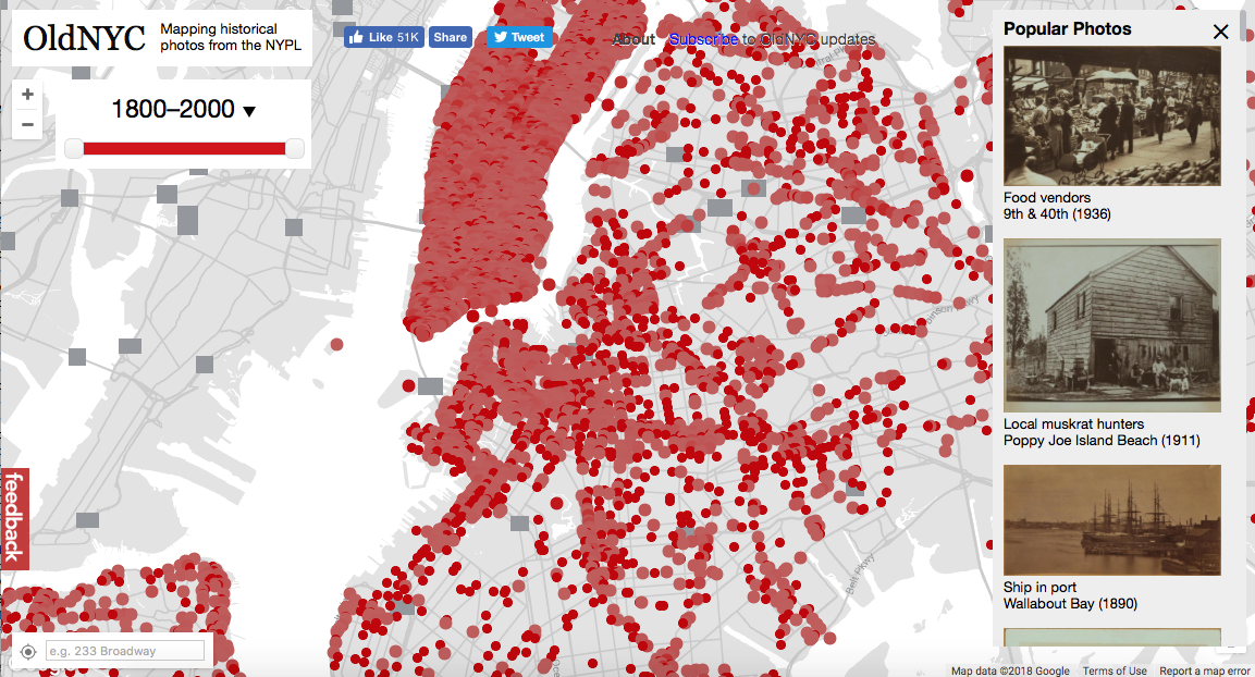 A screenshot of the OldNYC map tool with photos dating back to 1800.