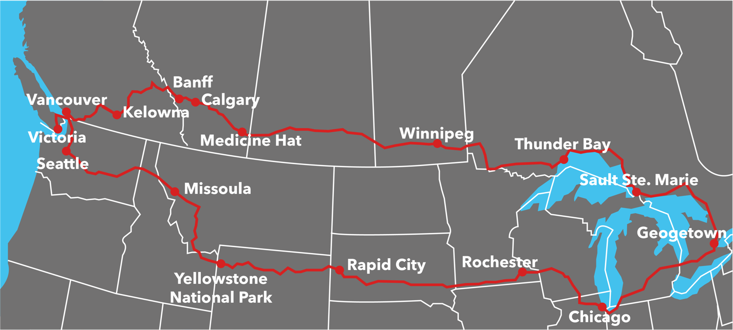 Our trip route beginning in Georgetown, Ont. and travelling North-West through Canada, then back through the United States