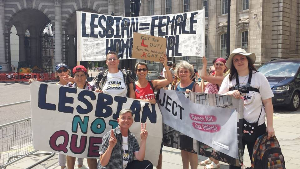 OBJECT joined a protest at the front of the London Pride parade, 2018. The protest highlighted the issue of lesbian erasure, through the redefinition of lesbianism as 'same-gender' rather than 'same-sex' attraction by those who support 'transgender' / 'queer' ideology. The 'LGBT' community is hostile to lesbians who want to assert their sexual boundaries by refusing to have sex with men - even if those men claim to be 'women with penises'.