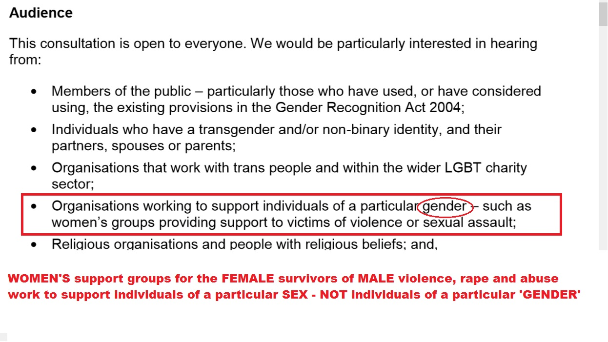 Here, the  Reform of The Gender Recognition Act – Government Consultation (2018) p. 4  describes women's refuges as being provided for individuals of a particular 'gender', rather than individuals of a particular 'sex'.   According to the consultation's own definition of 'gender', this means women's refuges are for anyone displaying stereotypical feminine traits and behaviors, regardless of biological sex or genitalia.  A mistake of this magnitude gives the impression that the government is completely ignorant of and/or has zero regard for the safety, dignity, privacy and interests of women as a sex class (biological females).