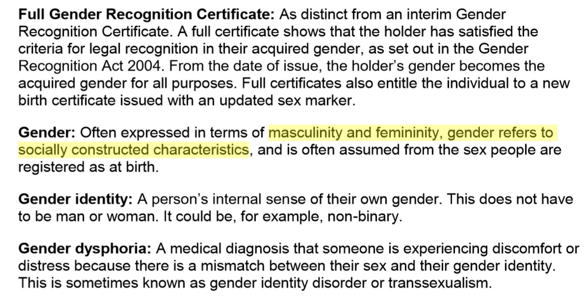 Here, 'gender' is accurately defined as the socially constructed behaviours of masculinity and femininity by the  Reform of The Gender Recognition Act – Government Consultation (2018) p. 7.   However, the consultation proceeds to misuse it's own definition of the term 'gender' throughout the remainder of the document.