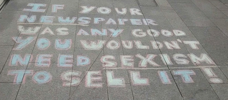 A chalk message left outside The News Building (London) in 2015 as part of the successful 'No More Page 3' campaign.