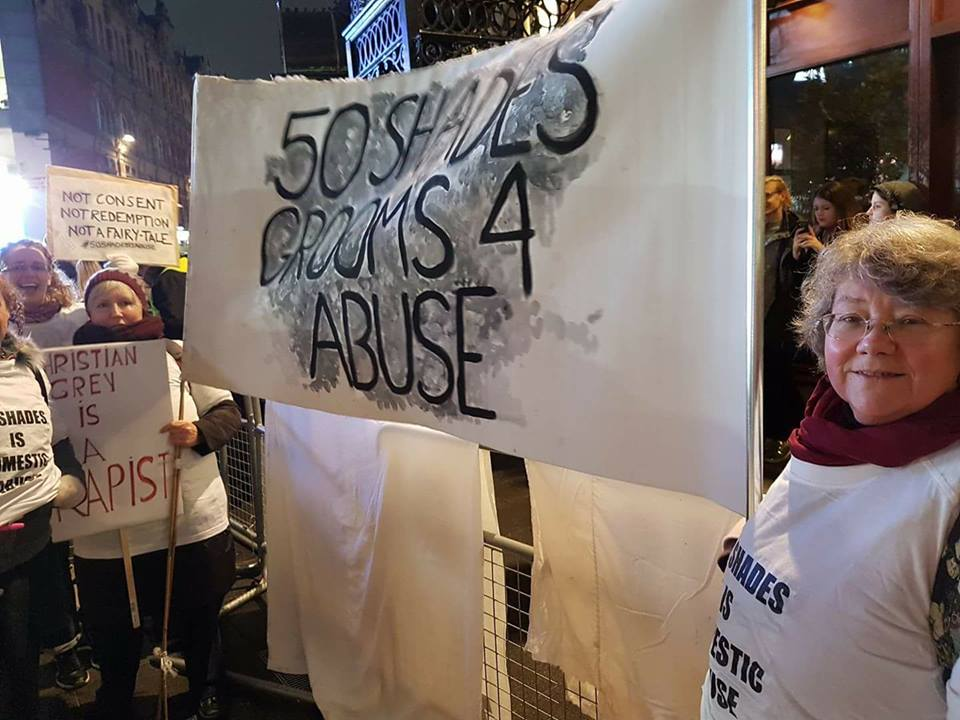 "OBJECT protested at the London premier of the film ""50 Shades of Grey,"" which glamorises male violence against women within an abusive relationship."