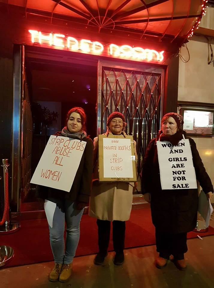 OBJECT protested outside The Red Rooms strip club in London. OBJECT and sister organisation  Not Buying It  were successful in campaigning against an application by The Red Rooms to install private booths within the venue.