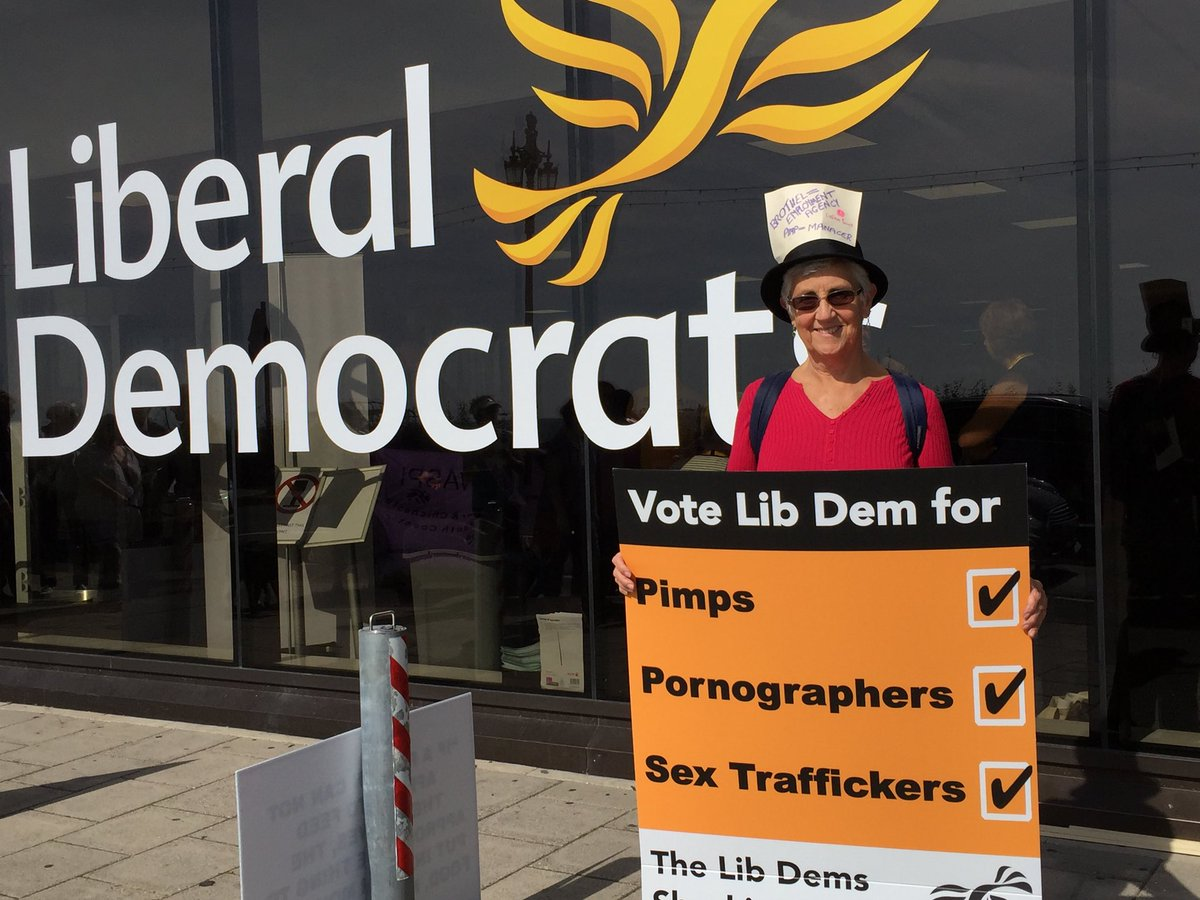 In September 2018, OBJECT joined others (inc.  Not Buying It ) protesting outside the Liberal Democrat Party conference in Brighton.  We OBJECT to their policies supporting pimps and pornographers.