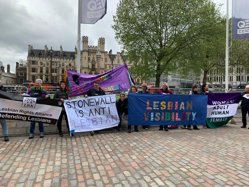 Women outside the Stonewall conference in London, OBJECTing to Stonewall's erasure of lesbians and their promotion of the idea that lesbianism is just a sexual fetish for men (i.e. men can become 'lesbians' and 'lesbian' is a porn category).