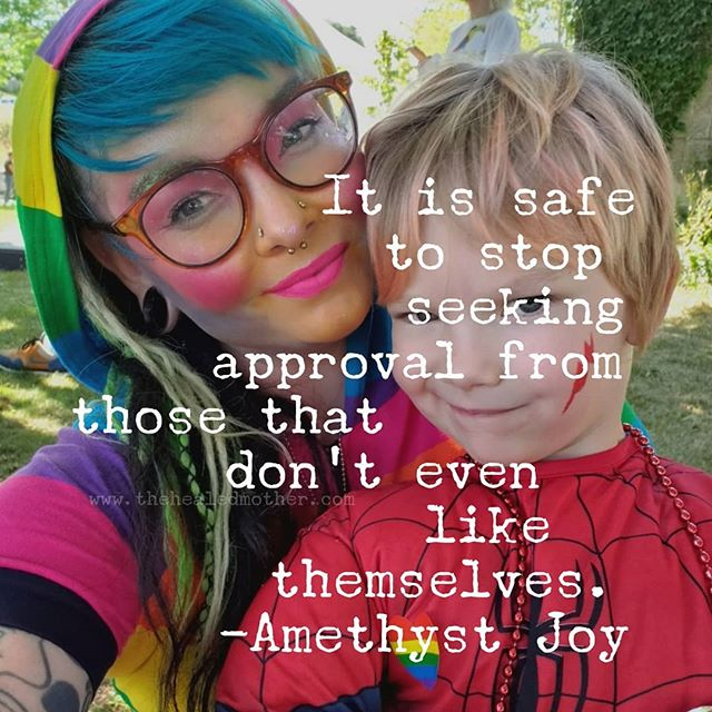 Seek approval from yourself, it is fruitless to get people to like you that are just criticizing others the way they criticize themselves. Our thoughts create ripples throughout our entire body and beyond into our lives, when the origin is self love, the way we exist in our bodies and the world shifts, it gets brighter, more colorful, joyful. Seek approval from yourself 💕  #createyourmotherhood #consciousmotherhood #mama #thehealedmother #amethystjoy #healingmothers #healingparenting #thehealingmother #thehealingmom #healingthemother #consciousparenting #healingthemotherwound #reparenting #reparentyourself #reparentyourinnerchild #mother #childhoodtrauma #healingchildhoodtrauma #selfparenting #motherhoodisnotmartyrdom #healingmotherhood
