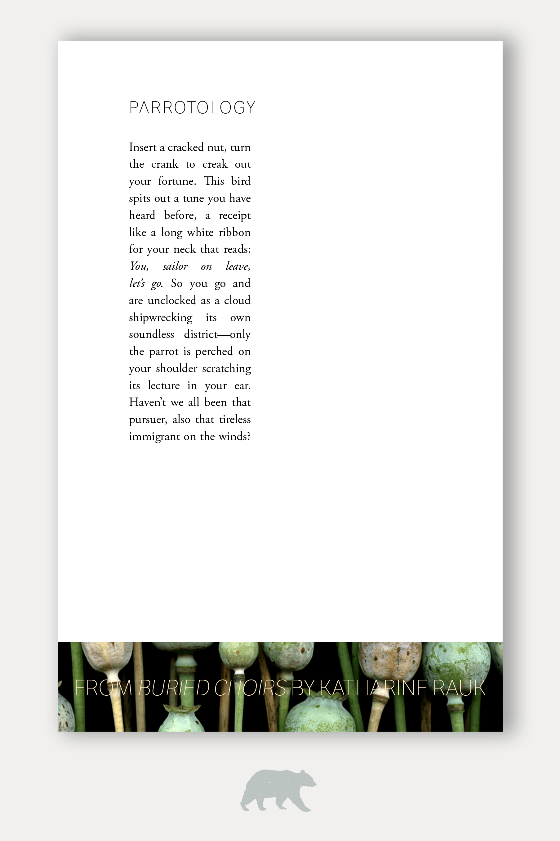 Interior Typesetting for Buried Choirs from Tinderbox Editions