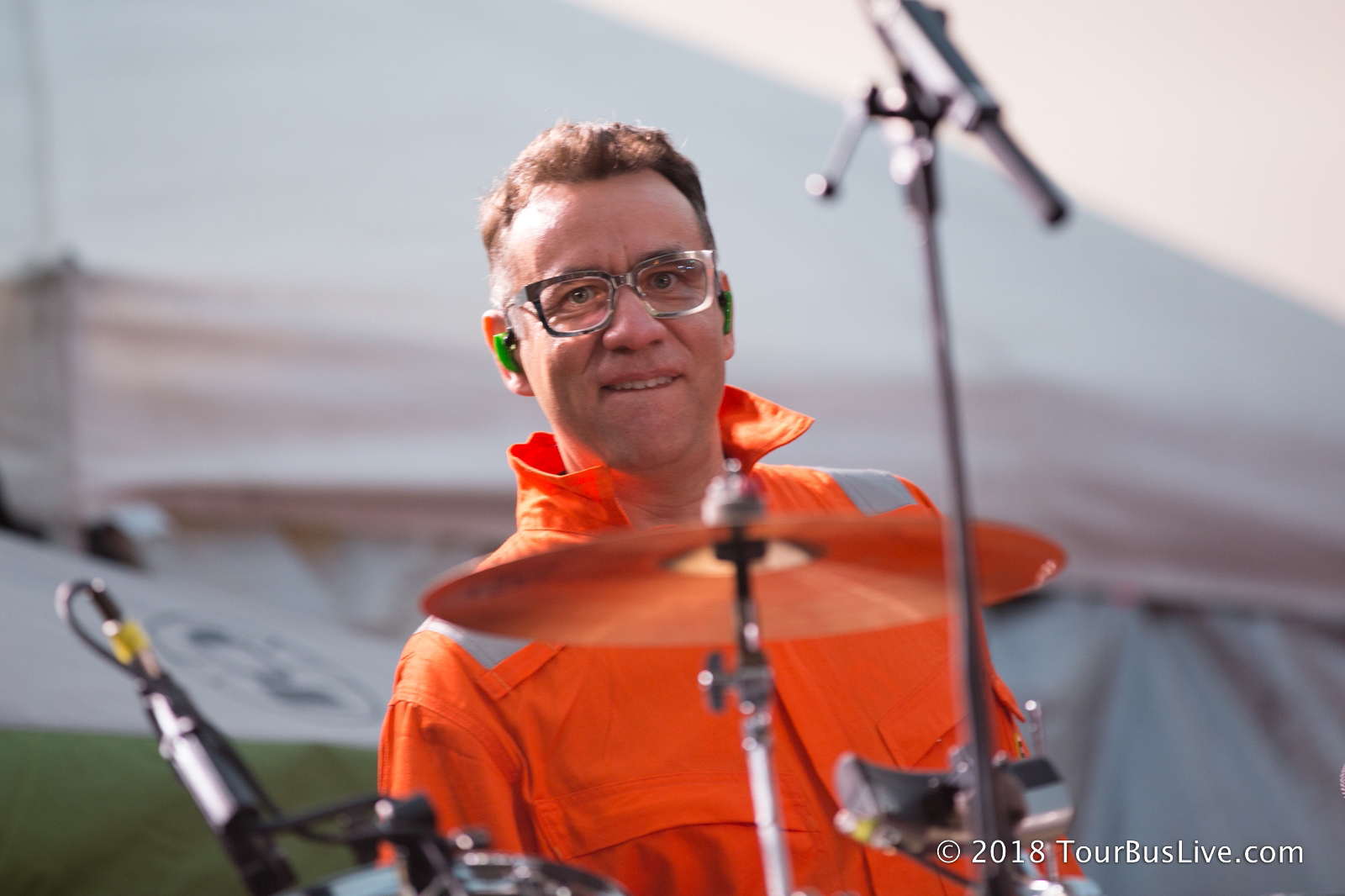 Armisen on the drumset