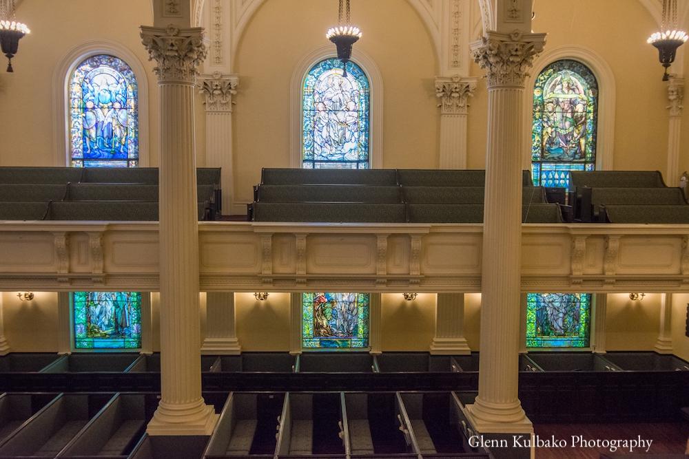 Sanctuary with Tiffany windows