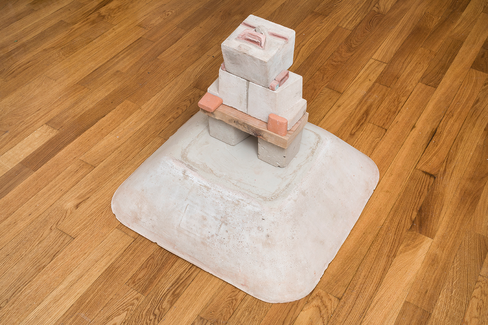 Steve Keister  Olmecoid Figure  2005 Cement, ceramic, acrylic, and wood 24 x 28 x 28 inches