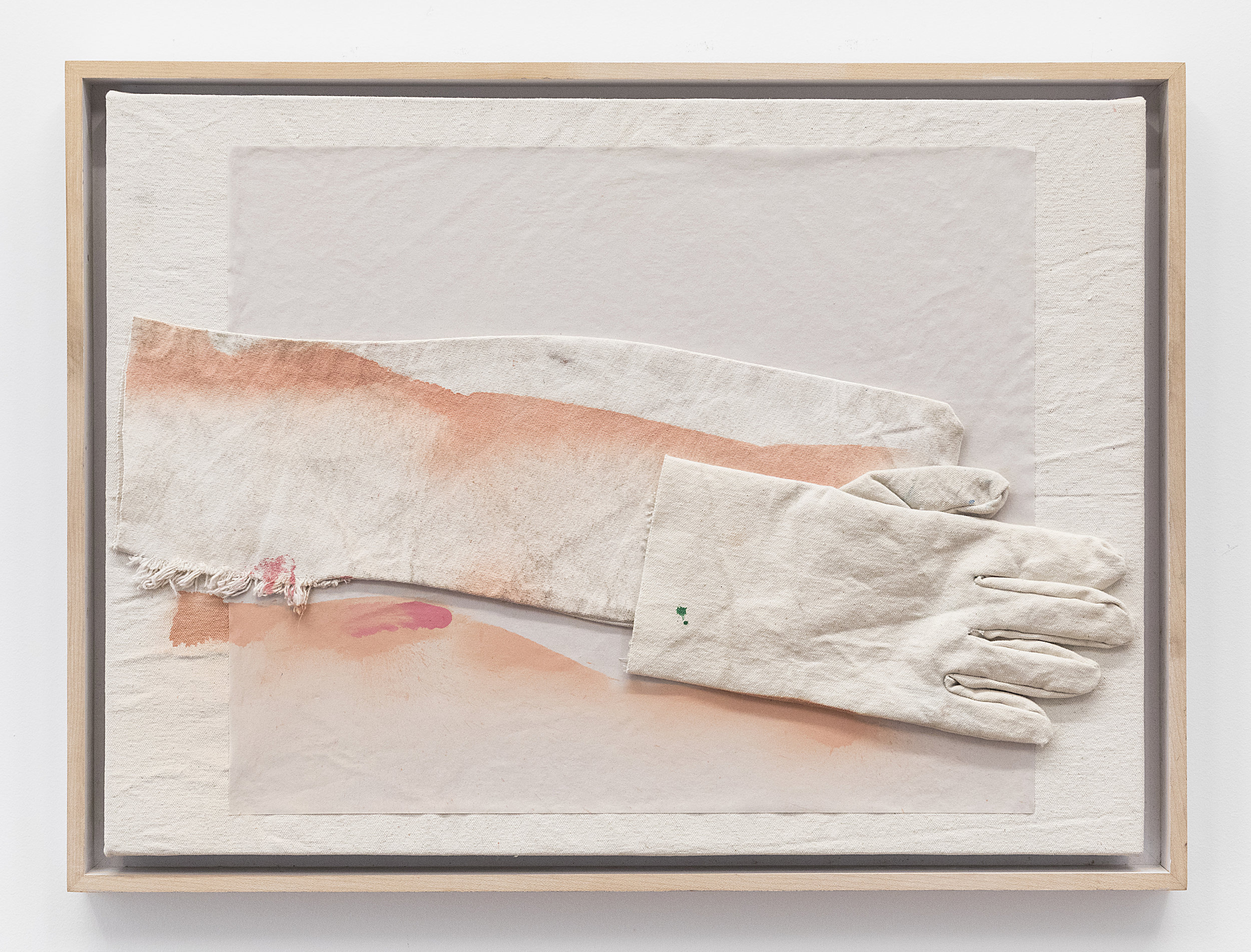 Jess Fuller  An Unopened Letter of Love  2018 Acrylic, gesso, newsprint, and glove on canvas 16 x 22 3/4 inches