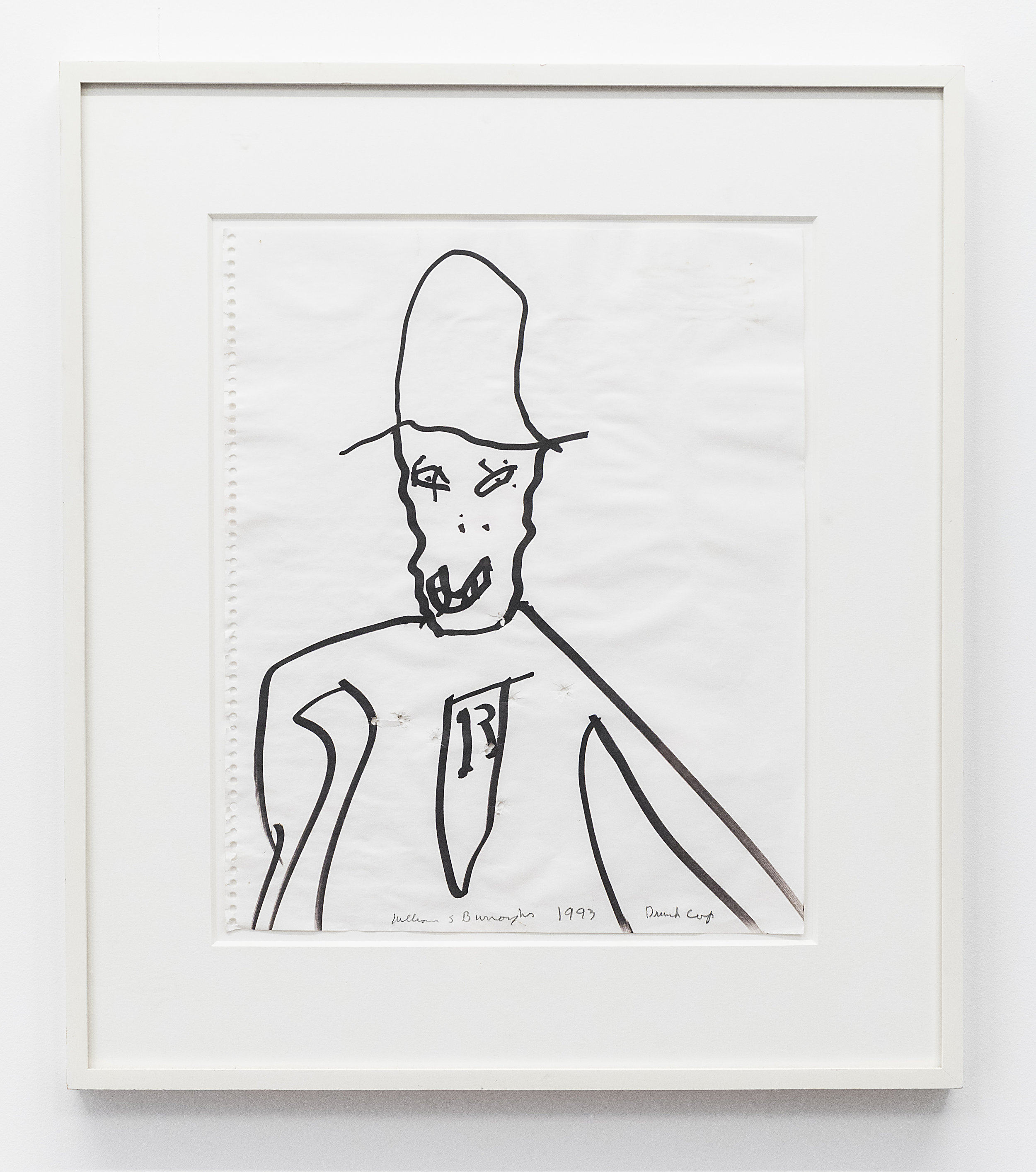 William Burroughs  Drunk Cop  1993 Marker on paper 16 3/4 x 14 inches