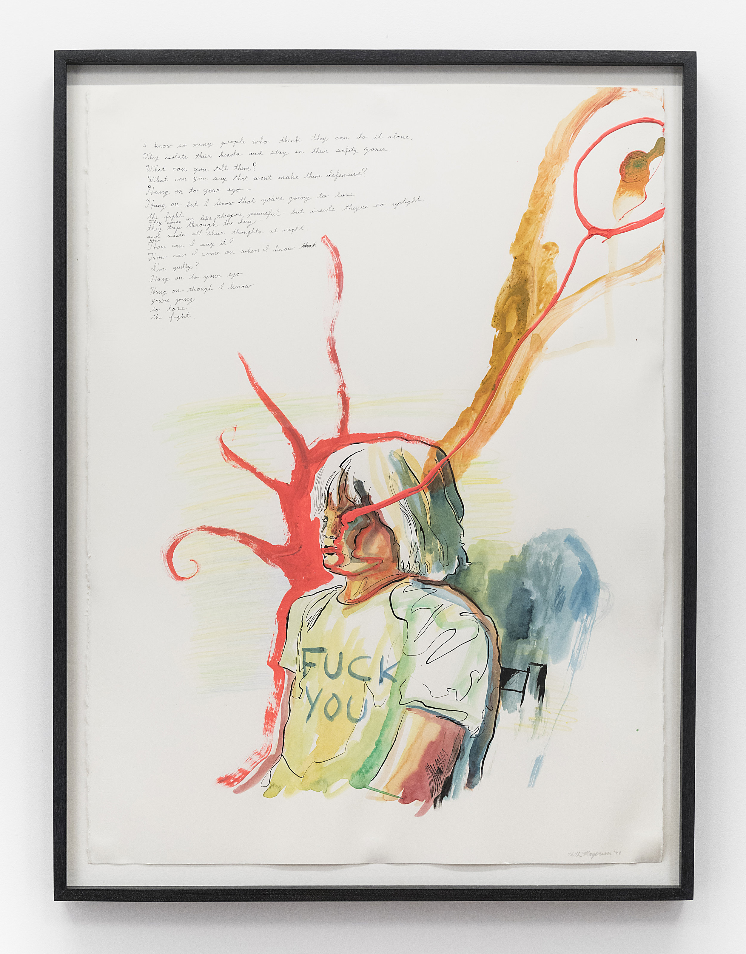 Keith Mayerson  Hang on to Your Ego  1997 Mixed media on watercolor paper 30 x 22 inches