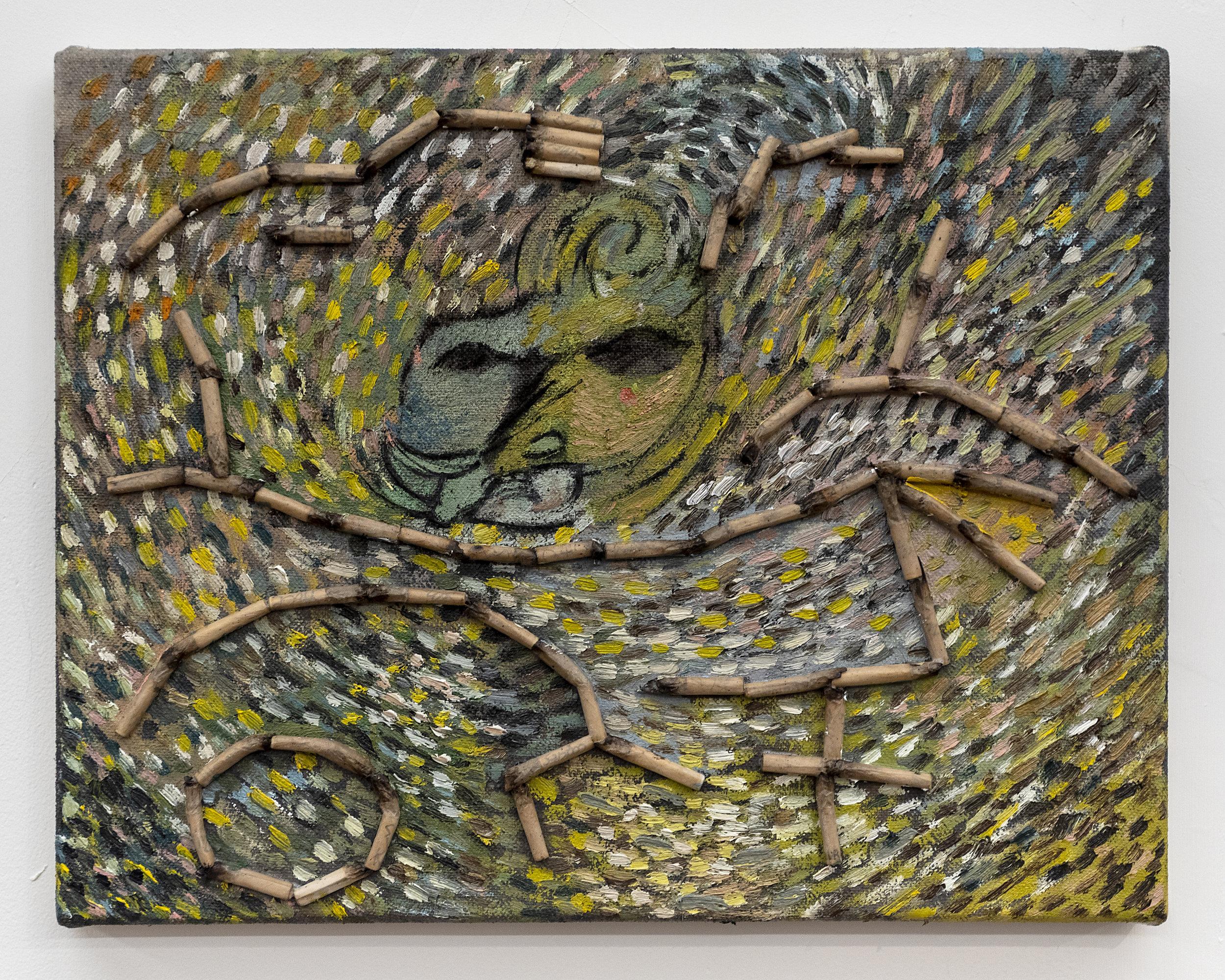 Matias Argañaraz  Untitled (C.o.M.P.a.S)  2018 Oil and roaches on canvas 11 x 14 inches