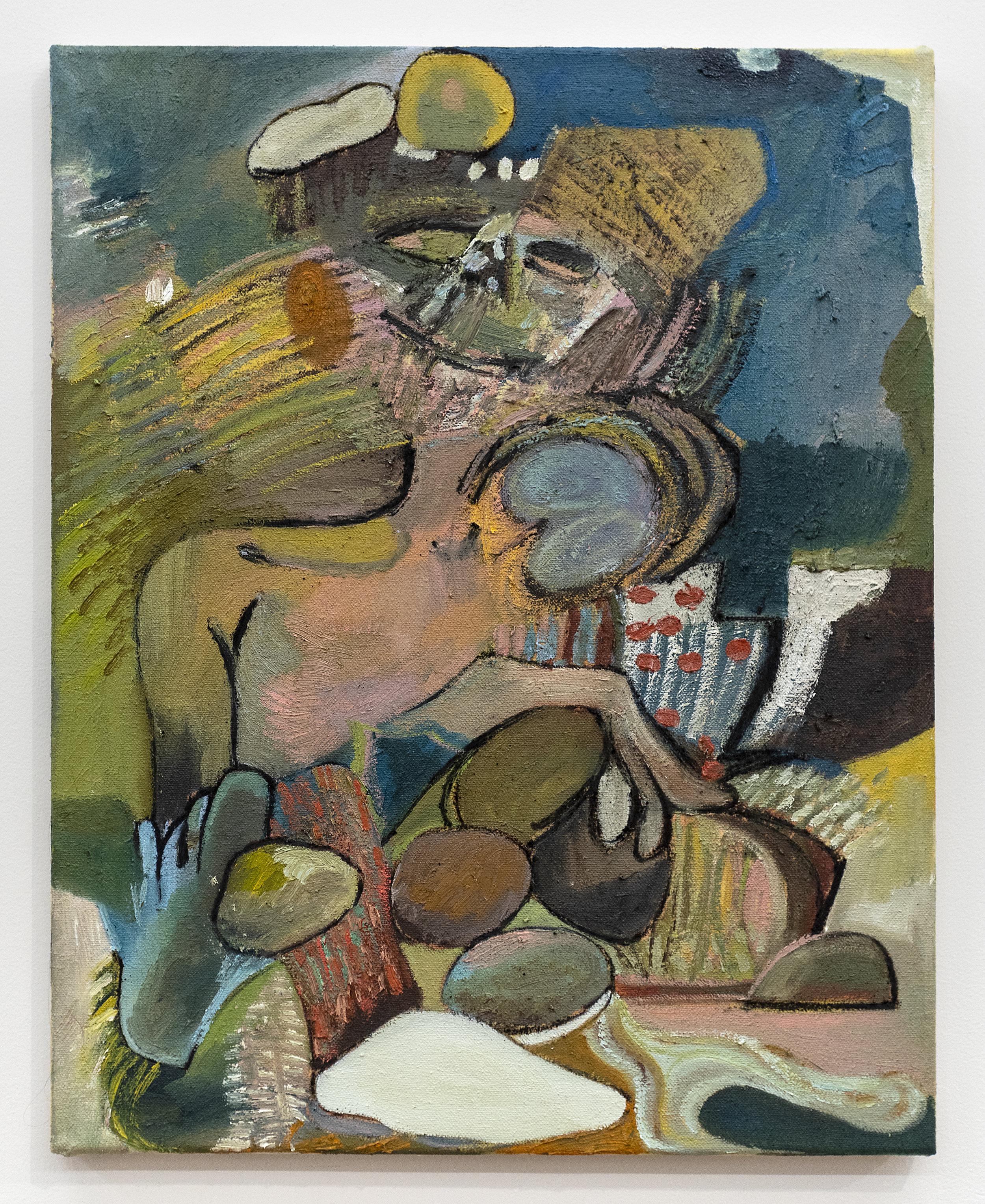 Matias Argañaraz  Rancio!  2019 Oil and ink on canvas 20 x 16 inches