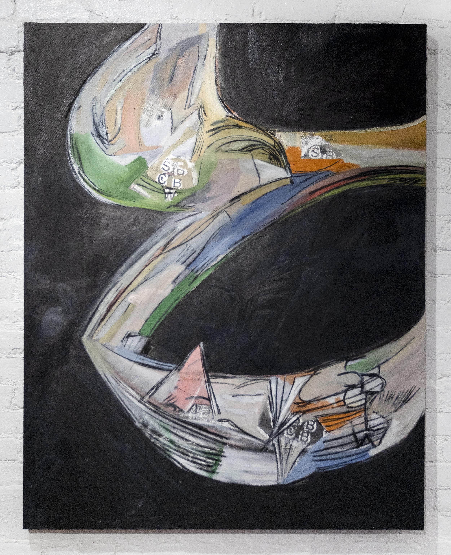 Matias Argañaraz  Wuush (S.B.C.B.W.)  2017 Oil, screenprint, acrylic, and charcoal on canvas 48 x 38 inches