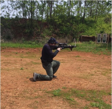 Mike demonstrating the fast kneeling position.