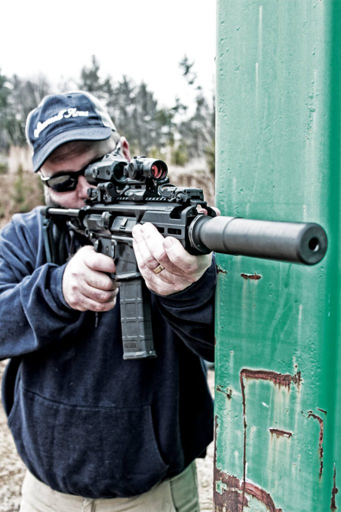 The author, training at Echo Valley Training Center with the MCX Rattler pistol