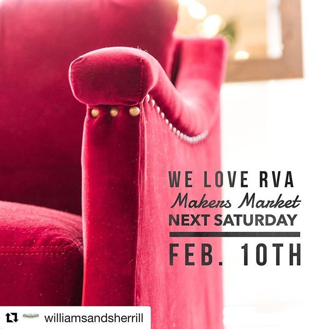 We're excited to announce that we'll be pouring next week at the RVA Makers Market at @williamsandsherrill! Would love to see y'all there. ・・・ Only ONE WEEK till the We Love RVA Makers Market! Are you attending? Check out our event facebook page for details and to RSVP. You won't want to miss this assembly of talented local vendors! #shoplocal #rva #welovervamakersmarket