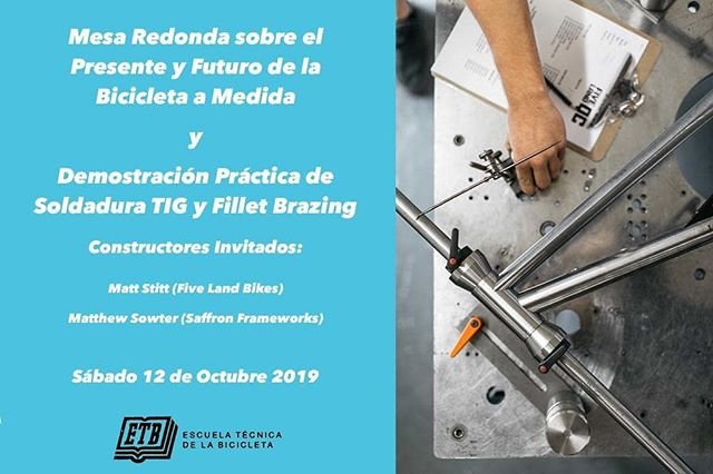 Next month Matt will be part of a workshop in Madrid with Matthew from @saffronframeworks hosted by @et_bicicleta and @arregui_velazquez. We will be talking about how we work, the custom bike industry and will have demos of TIG welding and brazing.  It's on the 12th October at Escuela Técnica de la Bicicleta in Madrid - a teaching and research centre that focuses on the the design, construction and mechanics of bicycle frames.  For more info or to sign up head over to the @et_bicicleta website.  #steelisreal #fabrication #tigwelding #brazing #madrid #spain #framebuilding #fivelandbikes #design #bicycle