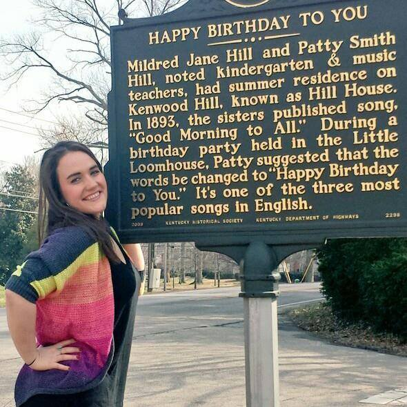 "On Kenwood Drive, this historical marker is near where ""Happy Birthday to You"" was written."