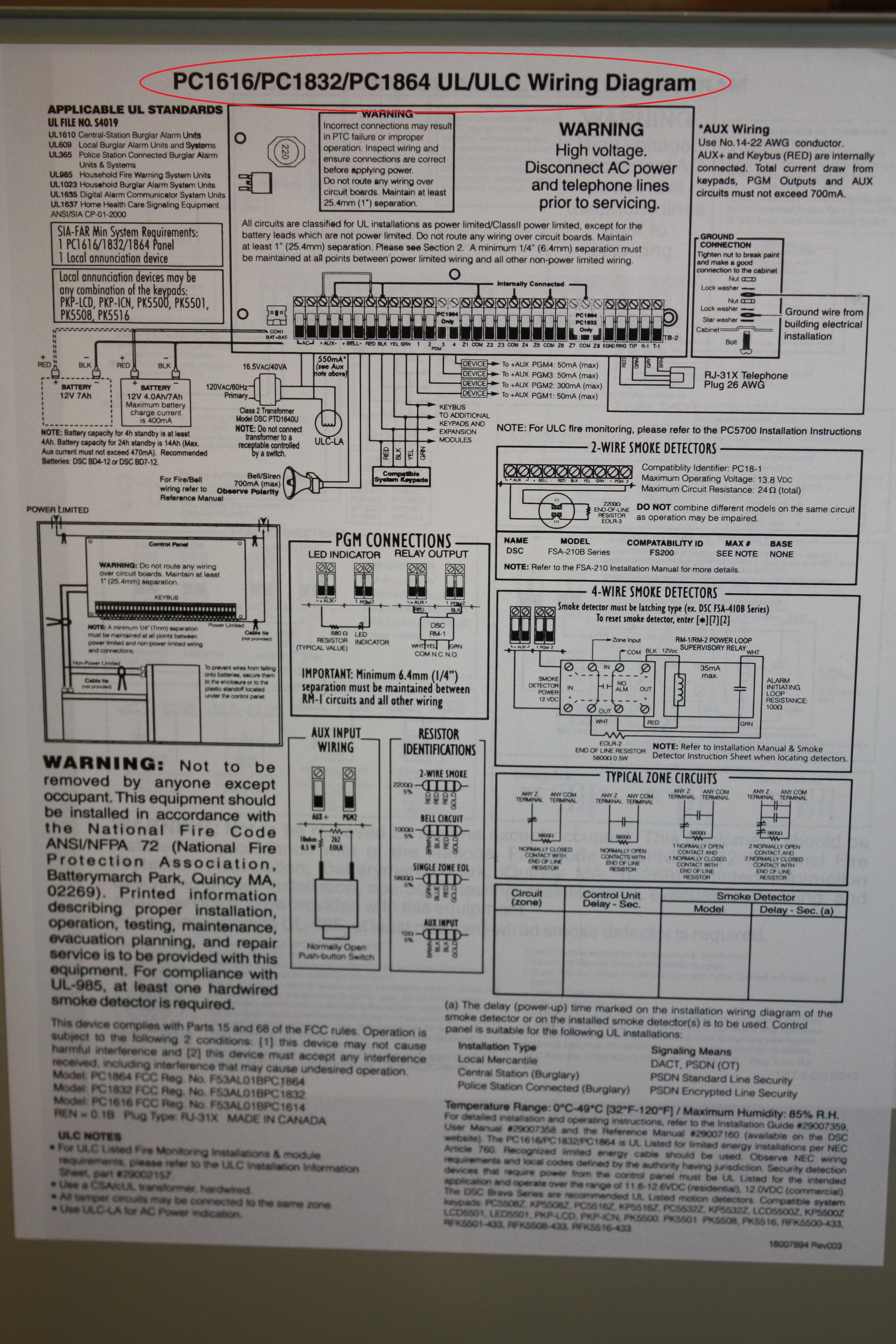 Schematic for the 5501 DSC Fixed English alarm system displaying the serial number location - NCA Alarms Nashville TN
