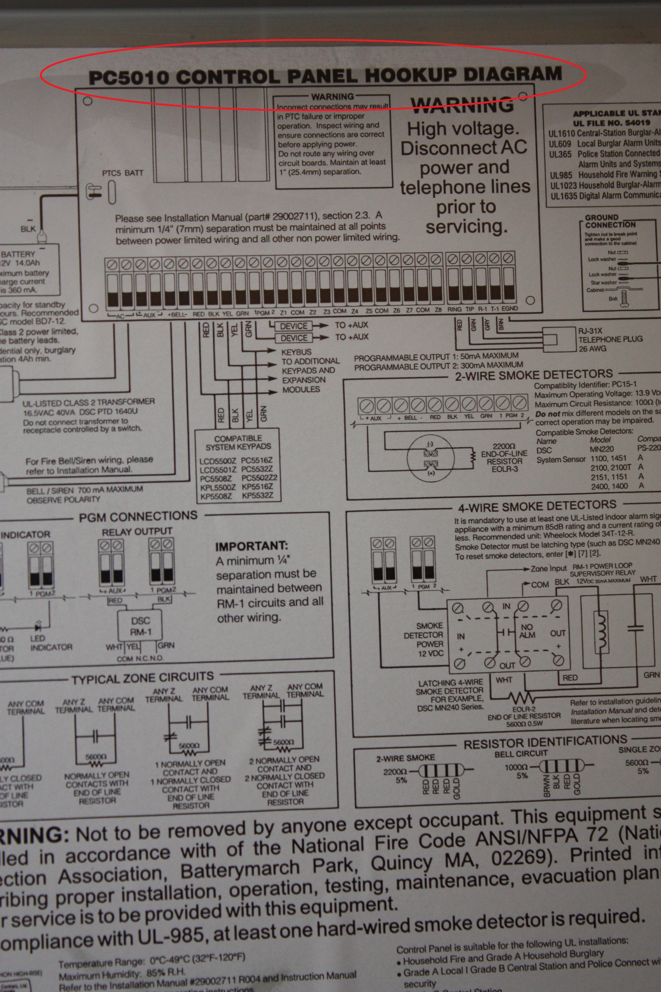 Control panel hookup diagram for the 5500 DSC Custom Alpha alarm system displaying the serial number location - NCA Alarms Nashville TN