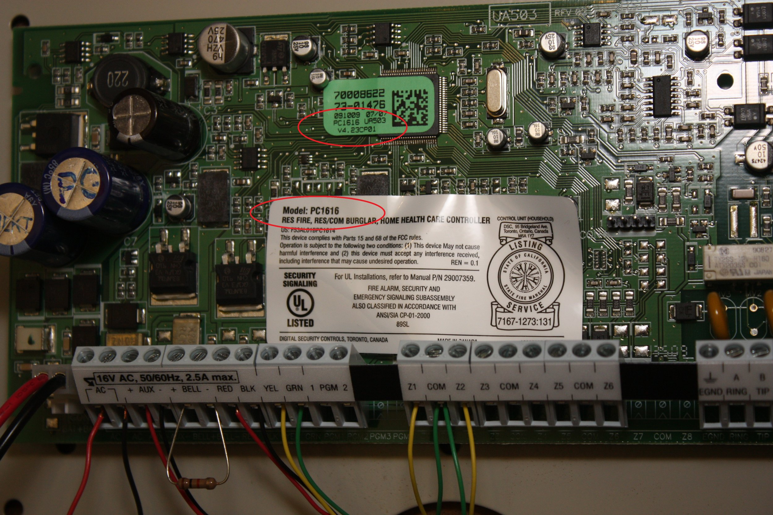 Circuit board for the 5508 DSC LED alarm system displaying the serial number location - NCA Alarms Nashville TN